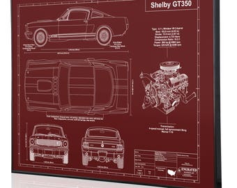 Ford mustang boss 302 laser engraved wall art blueprint sign shelby mustang gt350 1966 laser engraved wall art poster engraved on metal malvernweather Image collections