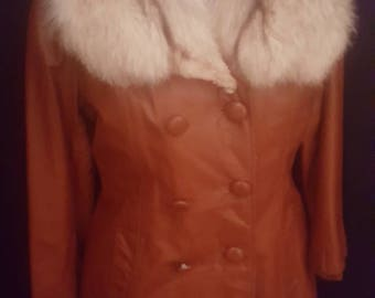 70s Leather jacket with fur collar