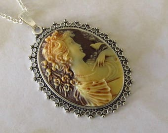 VALENTINE-Lady Profile Cameo Necklace Pendant-silver plated-80's Vintage Cameo on chain-hand made in England-Large Cameo honey beige colours