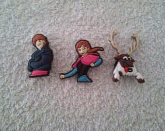 Set of 3 frozen jibbitz / Frozen (for fangs badges)