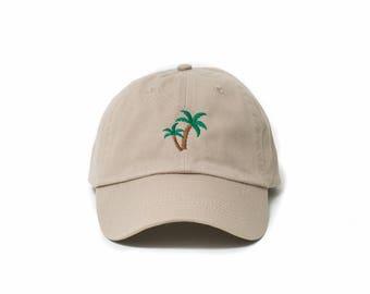Palm Tree Hat, Palm Tree Dad Hat, Palm Tree Baseball Cap, Embroidered Baseball Cap, Adjustable Strap Back Baseball Cap, Low Profile, Khaki