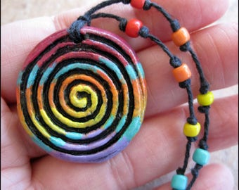 Ceramic Clay Southwest Spiral Pendant/Necklace