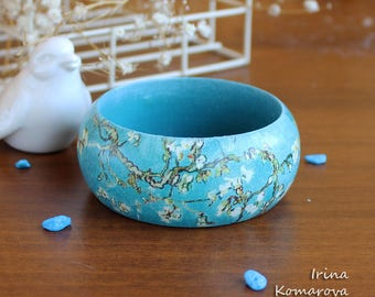 Van Gogh Blossoming Almond Tree, wooden bangle, Turquoise bracelet, fine art gift