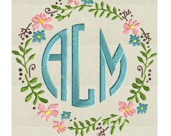 Floral Wreath Font Frame Monogram Design -Font not included - EMBROIDERY DESIGN FILE - Instant download - Vp3 Hus Dst Exp Jef Pes formats