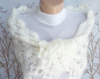 FREE SHIPPING Bridal Shawl ivory Wedding Shawl Bridal Shrug Bridal Bolero Crochet lace Shawl Cover Up Queen gift Neckwarmer Mother day gift