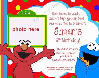 Elmo Birthday Invitation. Personalized elmo birthday invitation. Elmo invitation. Elmo and Cookie Monster invites. Digital (you print)