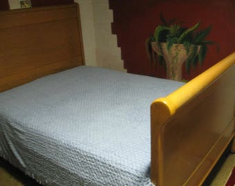Vintage Blue Chenille Bedspread with Fringe on Three Sides Nice Pattern Medium Blue Color Full or Queen SEE Details