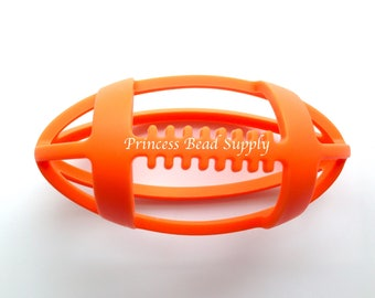 Orange Football Silicone Teether,  Football Teether,  100% Food Grade Silicone, Sensory Teether,  Silicone Teether