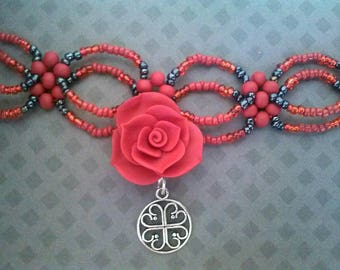 Dark Red Rose Choker and Studs
