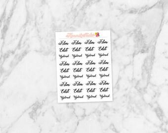 Film, Edit, Upload Handwritten Stickers Mini-Sheet; Youtube Stickers | for Erin Condren Life Planners, Happy Planners