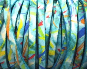 cord flat leather 5mm printed turquoise by 20 cm