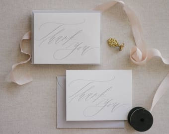 Boxed Soft Grey and White Calligraphy Thank You Card Set (Set of 10)