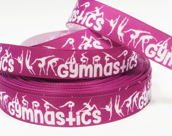 "7/8"" inch Gymnastics Gymnast White Silhouettes Sports Printed Grosgrain Ribbon for Hair Bow - Original Design"