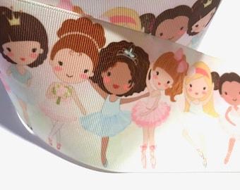 "3 inch Ballet Girls Dance Watercolor Printed Grosgrain Ribbon Cheer Hair Bow - 3"""
