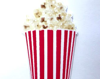 1 Piece - RESIN Popcorn Movie Flatback Flat back Accent   - Approx. 2.4 inch x 1.5 inch for Hair bow Center