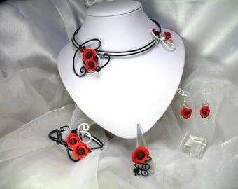 Parure Collier, bracelet, bague et boucles d'oreilles Fil d'aluminium Coquelicots Sélena