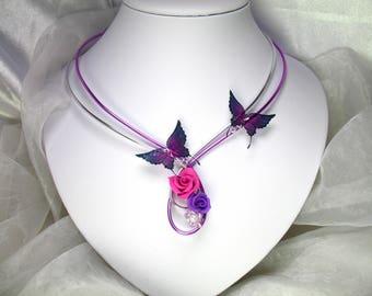 Collier Fil d'aluminium Koline violet et magenta