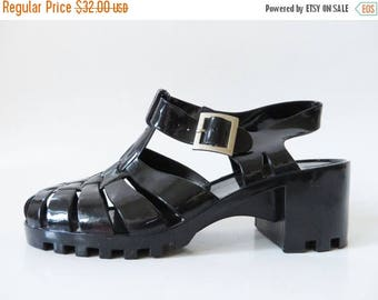 ON SALE Black Jelly Sandals Summer Rain Shoes Black High Heel Jelly Shoes Boho Hippie Beach Sandals Slingback Jelly Shoes Size UK 5-6 Eur 38