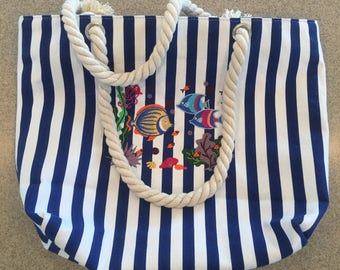 Blue Striped Tote Bag with Machine Embroidered Tropical Fish