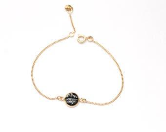 Gaia black enamel chain bracelet