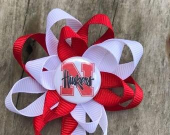 Nebraska huskers Hair bow - Nebraska huskers - Nebraska hair clip - University of Nebraska - Nebraska football - husker football