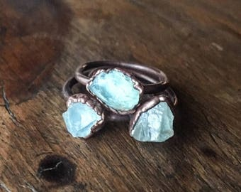 ON SALE Raw Aquamarine Ring | March Birthstone | Aquamarine Jewelry | Raw Aquamarine | Electroformed Ring | Stone Ring | Crystal Ring |