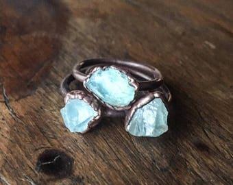ON SALE Raw Aquamarine Ring | March Birthstone | Aquamarine Jewelry | Raw Aquamarine | Electroformed Ring | Stone Ring | Crystal Ring |