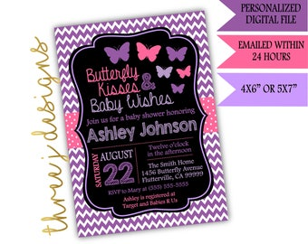 Butterfly Baby Shower Invitation - Purple and Pink - Digital File - J002