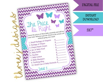 Butterfly Baby Shower The Price Is Right Game - INSTANT DOWNLOAD - Purple and Teal - Digital File - J001