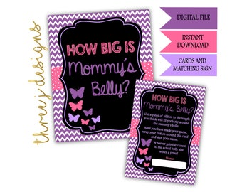 Butterfly Baby Shower How Big Is Mommy's Belly Game Cards and Sign - INSTANT DOWNLOAD - Purple and Pink - Digital File - J002