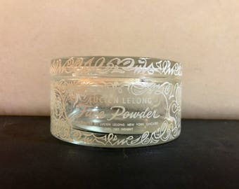 1940's Makeup Face Powder Jar , Glass Lucien Lelong
