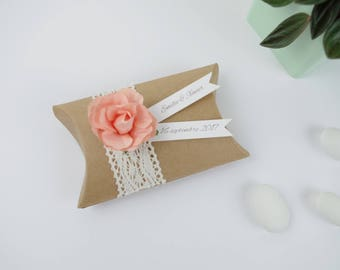 Sugared almonds wedding kraft pillow box lace + flower peach - thank you welcome birthday gift, baptism, wedding