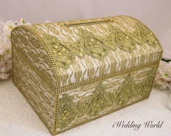 Gold wedding card box, ivory and gold card box,  memory box, wedding money box, wedding card holder, gold box, wedding card holder