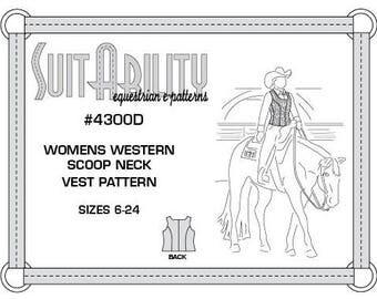 PDF Women's Western Scoop Neck Vest Pattern