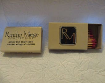 Collectible Tobacciana Match Boxes- 2 RM Rancho Mirage Country Club