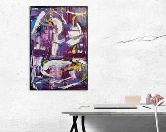 Purple abstract oil painting - affordable art