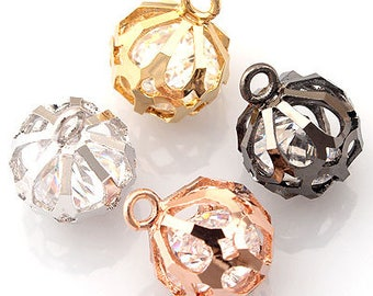 cz cubic zirconia mirror round ball Pendant Charm 10 * 13mm 2 pieces