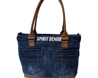 Combined denim bag - unique handbag from jeans with leather