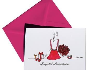 Folded birthday card, envelope Fuschia.