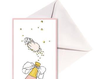 Carte pliée Bébé rose au champagne, enveloppe blanche.