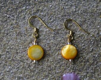 Dangle Earrings, Yellow Round Glass Beads
