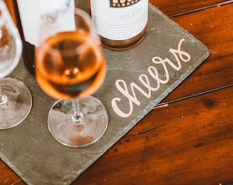 Hand-Lettered Cheers Slate Serving Tray