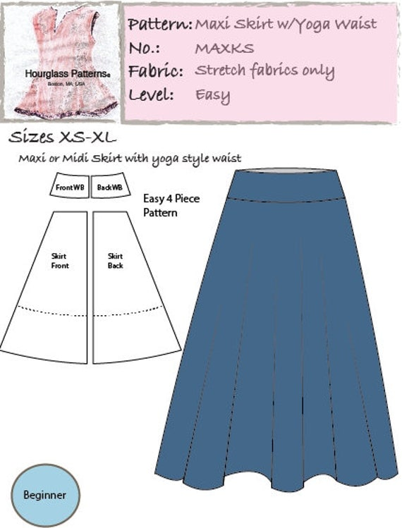Hourglass Patterns Maxi Knit Skirt With Optional Midi