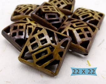 Square Focal Bone Beads Carved Good Fortune Character--1 Pc | 25-BE402-1