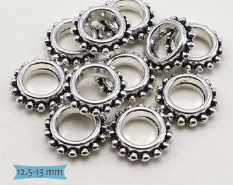 Thin Granulated Nickel Free Metal Ring Spacers Big Holes--20 Pcs. | 37-CLN102-20