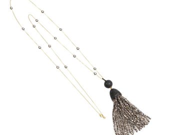 Tassel Ball Necklace Pyrite (Black)