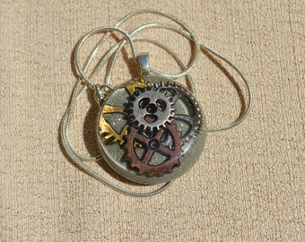 Round Steampunk Gear Necklace, Silver and Gold, Resin Jewelry