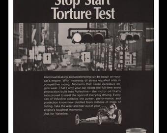 "Vintage Print Ad 1960s : Valvoline Motor Oil Automobile Car Wall Art Decor 8.5"" x 11"" each Advertisement"