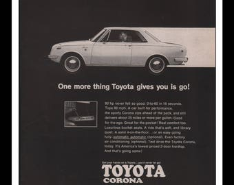 "Vintage Print Ad 1960s : Toyota Corona Automobile Car Wall Art Decor 8.5"" x 11"" each Advertisement"
