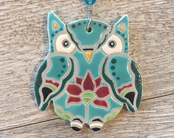 ceramic owl ornament | handmade | indoor/outdoor wall hanging | plant ornament